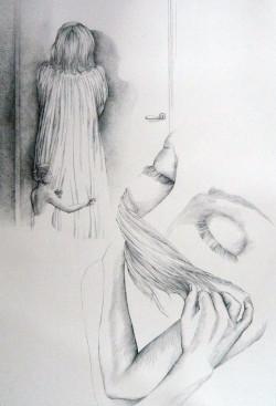 Xenia Fink Embrace 2016 Tuschezeichnung